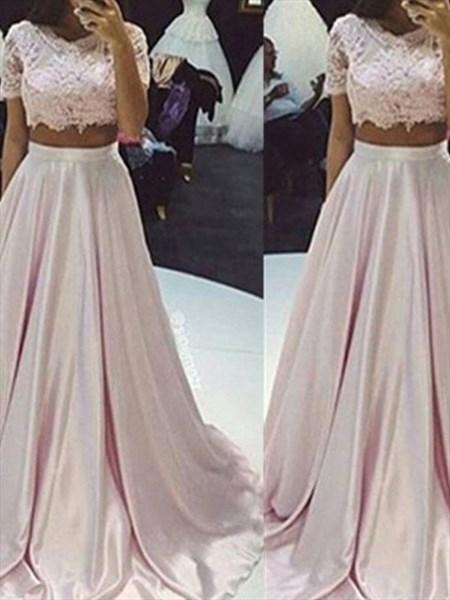 Pink Jewel Neck Short Sleeve Applique Satin Two Piece Prom Dress