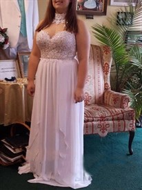 High Neck Beaded Applique Sleeveless Chiffon Plus Size Prom Dress