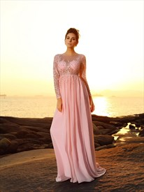 A Line Bateau Long Sleeve Beading Applique Pleated Chiffon Prom Dress