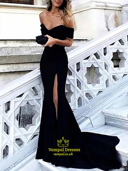 Off The Shoulder Cap Sleeve Sheath Prom Dress With Split And Train