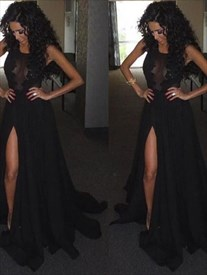 A Line Black Jewel Neck Sleeveless Applique Prom Dress With Split
