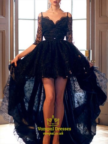 Spaghetti Strap Beading High Low Lace Prom Dress With 3/4 Sleeves