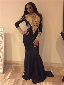 High Neck Long Sleeve Keyhole Sheath Prom Dress With Gold Applique