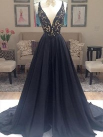 Black V Neck Sleeveless Beading Applique Satin Prom Dress With Train