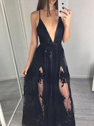 A Line Black Spaghetti Strap Applique Tulle Prom Dress With Slits