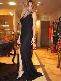 Black V Neck Sleeveless Keyhole Back Lace Prom Dress With Split