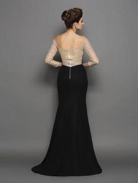 Elegant Black Off The Shoulder Sheer Long Sleeve Beaded Prom Dresses