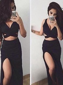 V Neck Sleeveless Side Cut Out Two Piece Prom Dress With Split