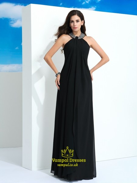 A Line Black Halter Neck Sleeveless Beaded Chiffon Long Prom Dress