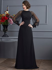 High Neck Puff Sleeve Ruched Empire Beaded Chiffon Long Prom Dress