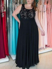 A Line Black Jewel Neck Sleeveless Keyhole Back Chiffon Prom Dress