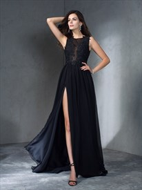 High Neck Beading Applique Floor Length Chiffon Prom Dress With Split