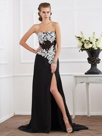 Sweetheart Beading White Applique Prom Dress With Split And Train