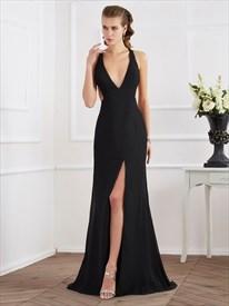 Black V Neck Sleeveless Open Back Chiffon Prom Dress With Split