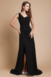 One Shoulder Ruched Bodice Long Black A Line Prom Dress With Split