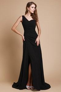 One Shoulder Ruched Bodice Long Black A Line Prom Dress With Split