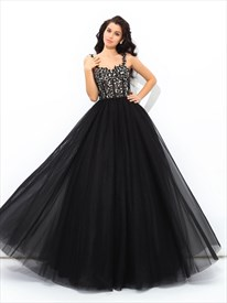 Elegant A Line Black Square Neck Sleeveless Applique Tulle Prom Dress