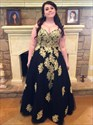 Black Spaghetti Strap Plus Size Tulle Prom Dress With Gold Applique