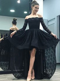 Elegant Black Off The Shoulder Long Sleeve Lace High Low Prom Dress