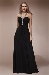 A Line Halter Neck Sleeveless Ruched Crystal Long Chiffon Prom Dress