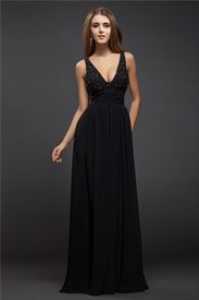 V Neck Beading Keyhole Back Pleated Chiffon Floor Length Prom Dress