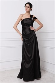 Black One Shoulder Ruched Sleeveless Sheath Long Taffeta Prom Dress