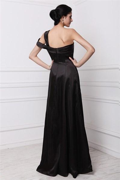 Black One Shoulder Ruched Sleeveless Sheath Long Taffeta Prom Dress