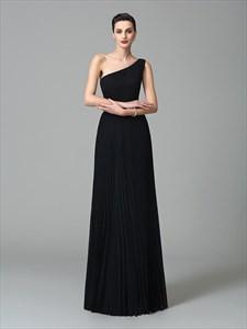 Simple A Line Black One Shoulder Floor Length Chiffon Prom Dress