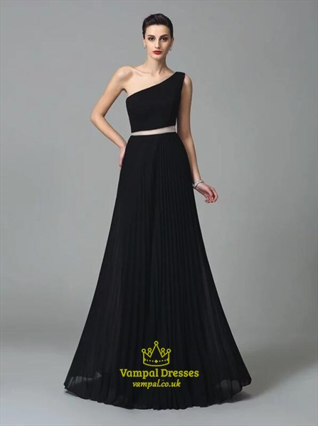Simple A Line Black One Shoulder Floor Length Chiffon Prom Dress