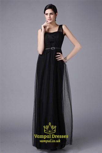A Line Black Square Neck Sleeveless Long Tulle Prom Dress With Belt