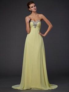 Yellow Sweetheart Ruched Bodice Sleeveless Beaded Chiffon Prom Dress