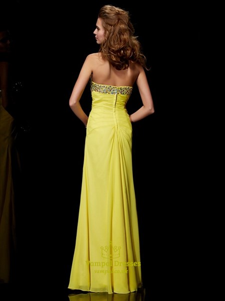 Strapless Crystal Beaded Ruched Waist Chiffon Prom Dress With Split