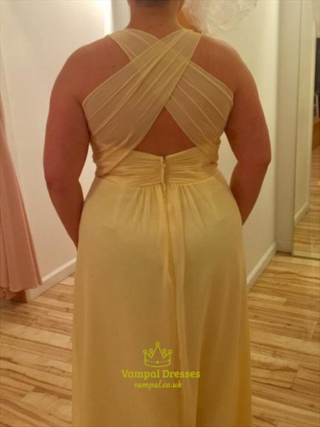 Square Neckline Sleeveless Pleated Chiffon Plus Size Prom Dress