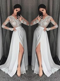 A Line V-Neck Long Sleeve Lace Applique Chiffon Prom Dress With Split