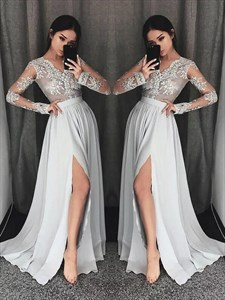 A Line V-Neck Long Sleeve Lace Applique Chiffon Prom Dress With Split