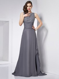 Bateau Sleeveless Beaded Ruched Waist Chiffon Prom Dress With Train