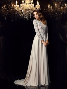 A Line Bateau Long Sleeve Beading Open Back Prom Dress With Train