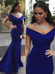 Simple Off The Shoulder Cap Sleeve Ruched Bodice Sheath Prom Dress
