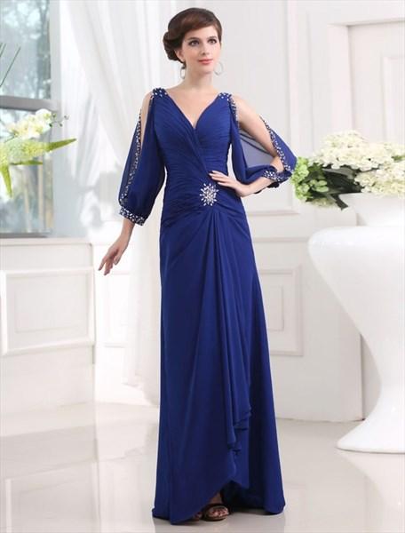 V-Neck Puff Long Sleeve Ruched Bodice Beading Chiffon Prom Dress