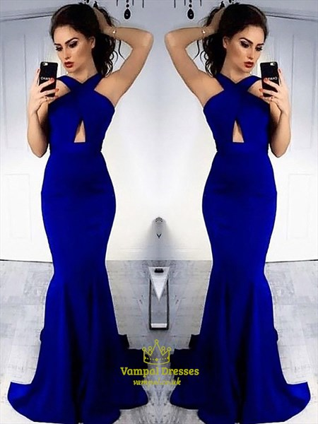 Halter Neck Sleeveless Keyhole Sheath Satin Mermaid Long Prom Dress