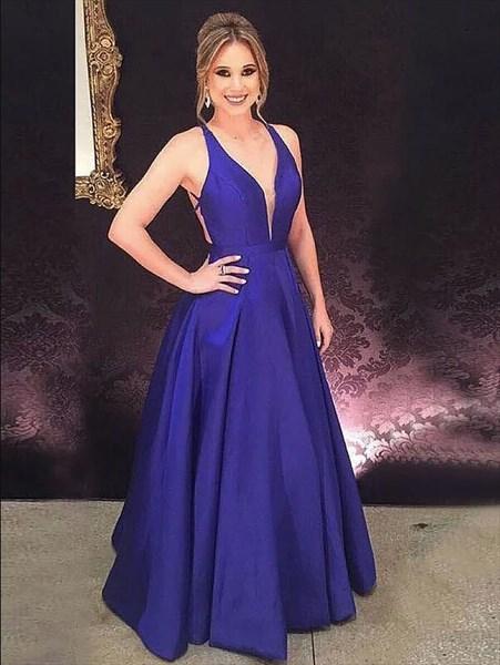 Simple A Line Royal Blue V Neck Sleeveless Cross Back Prom Dress
