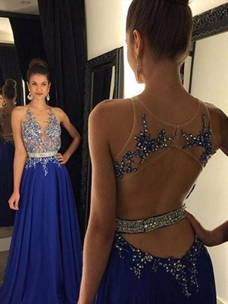 Jewel Neck Sleeveless Keyhole Beaded Applique Chiffon Prom Dress