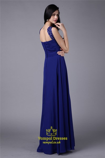A Line Square Neck Sleeveless Ruched Crystal Chiffon Prom Dress