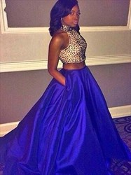 High Neck Beaded Bodice Sleeveless Two Piece Prom Dress With Pockets