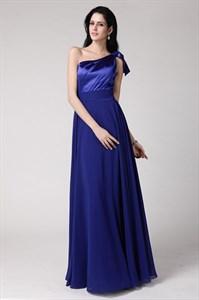 Simple A Line Royal Blue One Shoulder Sleeveless Chiffon Prom Dress
