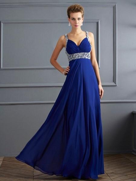 V Neck Sleeveless Beaded Ruched Floor Length Chiffon Prom Dress