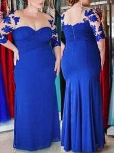 V Neck Half Sleeve Applique Ruched Sheath Plus Size Prom Dress