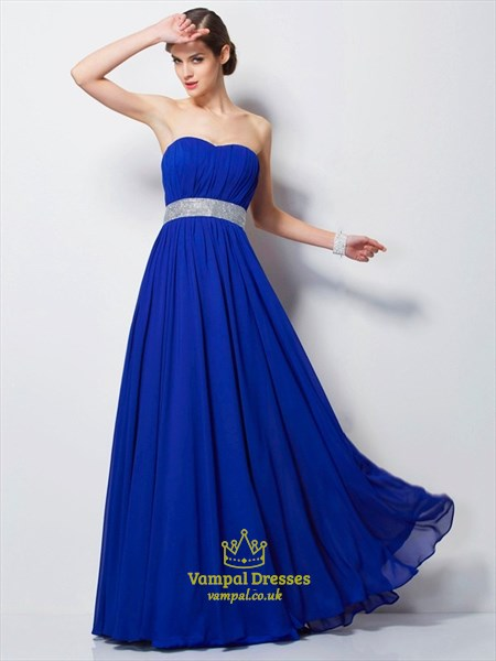 Royal Blue Strapless Sleeveless Pleated Prom Dress With Sequins