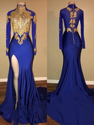 High Neck Long Sleeve Gold Applique Prom Dress With Split And Train