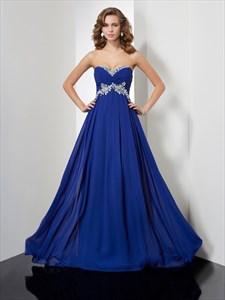 A Line Royal Blue Sweetheart Sleeveless Applique Chiffon Prom Dress